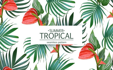 Vector Tropical flowers and palm leaves seamless pattern. Floral exotic Hawaiian background. Blooming elements. Hand drawn jungle plants