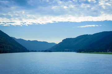 Panoramic view of the Danube Valley, border between Austria and Germany