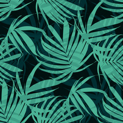 Vector Tropical palm leaves seamless pattern. Floral exotic Hawaiian background. Blooming elements. Hand drawn jungle plants. Ideal for fabric,wallpaper,wrapping paper, textile, bedding,t-shirt print.