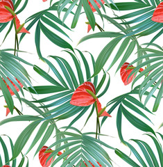 Vector Tropical flowers and palm leaves seamless pattern. Floral exotic Hawaiian background. Blooming elements isolated. Hand drawn jungle plants