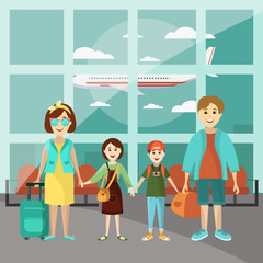 Family travel concept vector poster. Parents with two kids at the airport going to vacation. Cartoon people characters in flat style design. Airport interior.