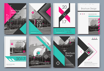 Abstract binder art. A4 brochure cover design. Hi tech info frame. Elegant ad flyer text. Title sheet model set. Fancy vector front page. City street font blurb. Pink, green line, triangle figure icon