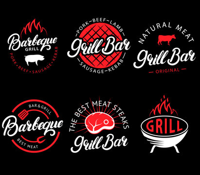 Vector set of grill bar and bbq labels in retro style. Vintage grill restaurant emblems, logo, stickers and design elements. Collection of barbecue signs, symbols and icons. Black and red color style