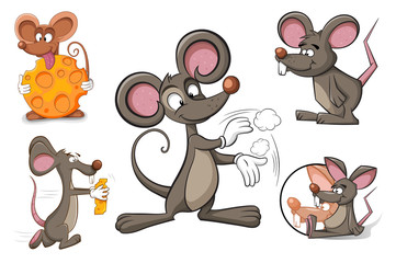 Cartoon character mouse cheese. Funny and cute illustration.
