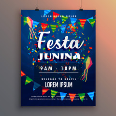 festa junina party flyer poster with confetti and garlands decoration
