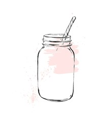 Hand drawn vector graphic Kitchen glassware utensils glass jar bowel drinking accessories isolated on white background with pastel colored freehand textures.