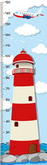 Height measurement chart template with lighthouse in background