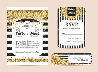 geometric glitter invitation
