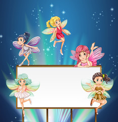 Whiteboard template with fairies flying around