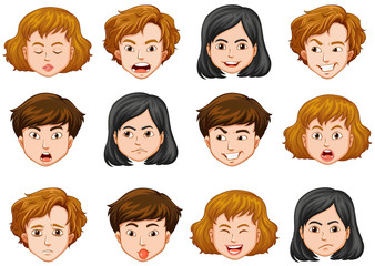 Human faces with different emotions