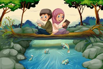 Aluminium Prints Submarine Two muslim kids reading books in forest