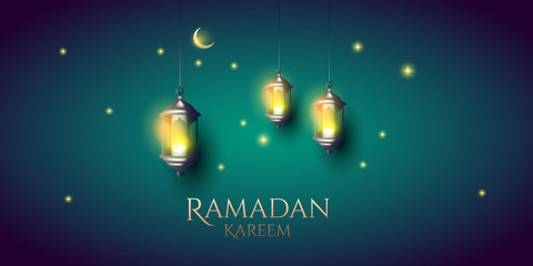 ramadan kareem background. lamp with moon and stars