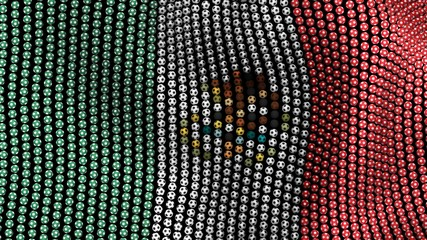 Flag of Mexico, consisting of many soccer balls fluttering in the wind, on a black background. 3D illustration.