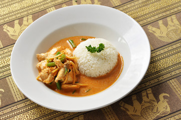 Thai red curry chicken with rice