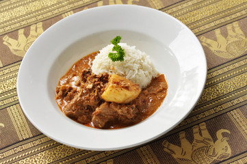 Thai massaman beef curry with rice