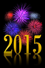 Golden 3D text New Year 2015 with real fireworks