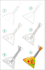 Page shows how to learn step by step to draw Russian musical instrument balalaika. Developing children skills for drawing and coloring. Vector image.