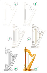 Page shows how to learn step by step to draw stringed musical instrument harp. Developing children skills for drawing and coloring. Vector image.