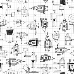 Hero seamless pattern. Beautiful child's drawing with school pen. Cute hero hand drawn with black ink on math paper background. Boy hero seamless pattern for textile or wrapping paper.