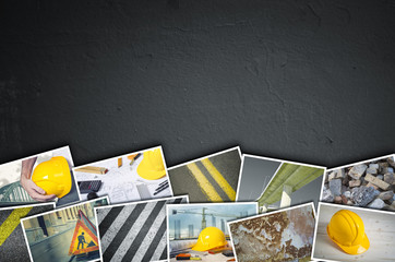 Construction collage od dark concrete background