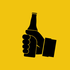 Beer in hand icon. Isolated black silhouette on background. Man holding pictogram bottle without label. Vector illustration flat design.