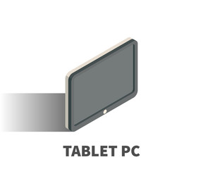 Tablet PC icon, vector symbol in isometric 3D style isolated on white background.