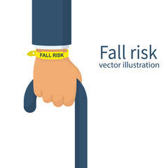 Fall risk. Bracelet on the wrist elderly man. Wooden cane in hand isolated on white background. Walking stick for support. Vector illustration flat design.