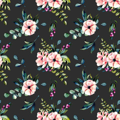 Seamless floral pattern with watercolor pink flowers and eucalyptus branches bouquets, hand drawn on a dark background