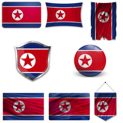Set of the national flag of DPRK in different designs on a white background. Realistic vector illustration.