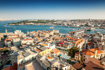 Foto op Aluminium Algerije Turkey, Istanbul, view of the city and the bay from the height