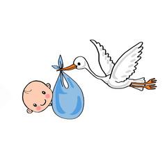 Stork carrying a boy