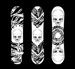 Vector illustration snowboard design collection with skull and geometric shapes.