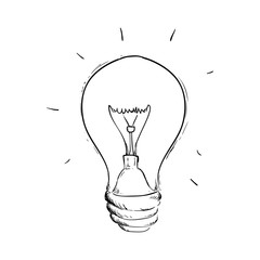 Bulb light draw icon vector illustration graphic design