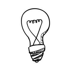 Bulb doodle draw icon vector illustration graphic design