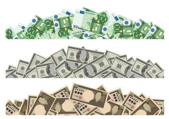 Pile of money decor set (Dollar, euro, Yen)