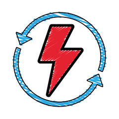 energy hazard symbol with arrows around