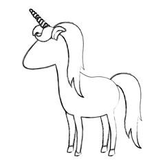 monochrome blurred silhouette of cartoon faceless unicorn standing vector illustration