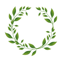 wreath of leaves icon over white background colorful design vector illustration