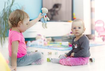 little girls playing