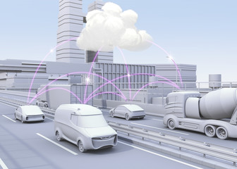 cars on motorway sharing traffic information by computer network. Concept for connected car.  3D rendering image.