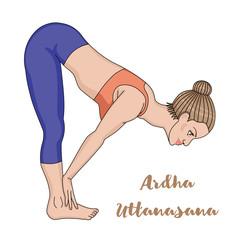 Women silhouette. Standing half forward bend yoga pose. Ardha uttanasana