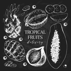Vector hand drawn exotic fruits. Chalkboard style engraved smoothie bowl ingredients. Tropical sweet food delivery. Pitaya, carambola, banana, mango, papaya, fig.