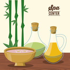 color poster of spa center with bamboo plant and bowl and oil essences bottles vector illustration