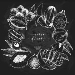 Vector hand drawn smoothie bowls poster. Exotic chalkboard style engraved fruits. Square border composition. Banana, mango, papaya, pitaya, acai, lychee, fig.