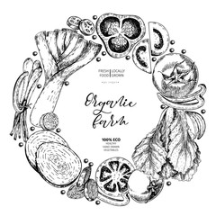 Vector hand drawn set vegetables. Round border composition. Tomato, onion, cabbage, pepper, leek. Engraved art. Organic sketched vegetarian objects.