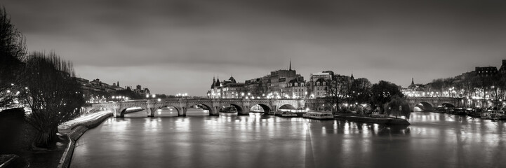 Black & White panoramic of Ile de la Cite, the Seine River and Pont Neuf at Dawn. Paris, 1st Arrondissement, France