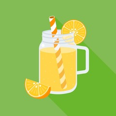 orange juice in mason jar, flat design vector