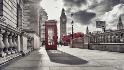 Poster London red bus Red telephone booth and Big Ben in London, England, the UK. The symbols of London in black on white colors.