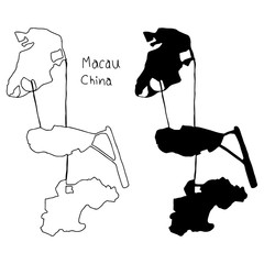 outline and silhouette map of Macau China - vector illustration hand drawn with black lines, isolated on white background
