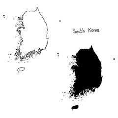 outline and silhouette map of South Korea - vector illustration hand drawn with black lines, isolated on white background